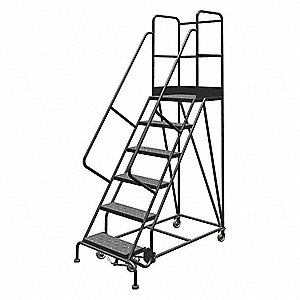 "Rolling Ladder,Steel,50"" H,Yellow"