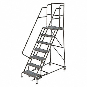 "7-Step Rolling Ladder, Perforated Step Tread, 106"" Overall Height, 450 lb. Load Capacity"