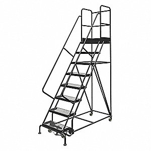 "8-Step Rolling Ladder, Serrated Step Tread, 116"" Overall Height, 450 lb. Load Capacity"