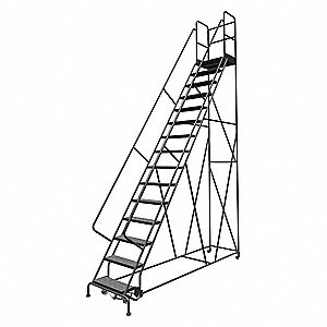 "15-Step Rolling Ladder, Perforated Step Tread, 186"" Overall Height, 450 lb. Load Capacity"