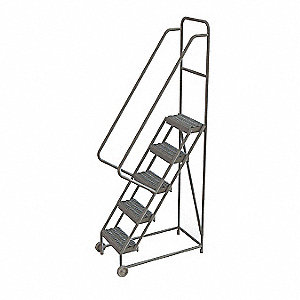 "5-Step Tilt and Roll Ladder, Serrated Step Tread, 86"" Overall Height, 450 lb. Load Capacity"