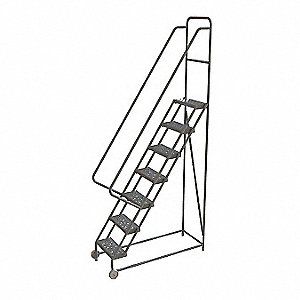 "7-Step Tilt and Roll Ladder, Perforated Step Tread, 106"" Overall Height, 450 lb. Load Capacity"