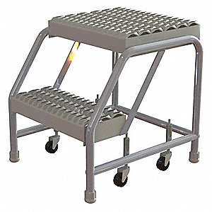 "Aluminum Rolling Step, 20"" Overall Height, 350 lb. Load Capacity, Number of Steps: 2"