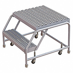 Magnificent Aluminum Rolling Step 20 Overall Height 350 Lb Load Capacity Number Of Steps 2 Ocoug Best Dining Table And Chair Ideas Images Ocougorg
