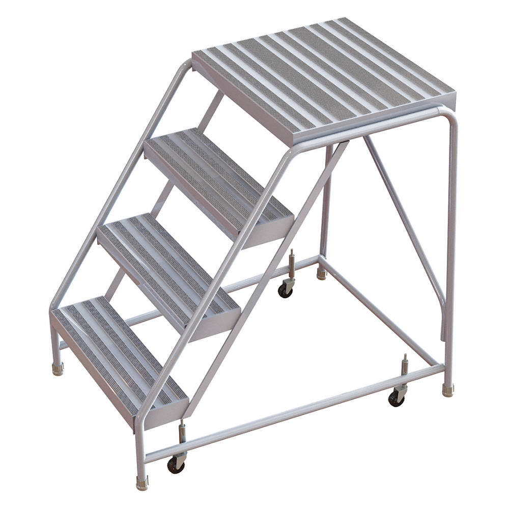 Enjoyable 4 Step Rolling Ladder Ribbed Step Tread 40 Overall Height 350 Lb Load Capacity Machost Co Dining Chair Design Ideas Machostcouk