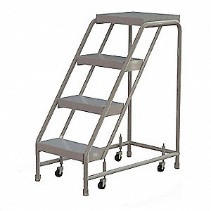 Rolling Ladder,4 Step,Aluminum,Ribbed
