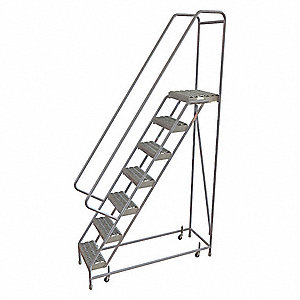 "7-Step Rolling Ladder, Serrated Step Tread, 102"" Overall Height, 350 lb. Load Capacity"