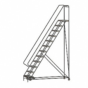 "12-Step Rolling Ladder, Ribbed Step Tread, 156"" Overall Height, 350 lb. Load Capacity"