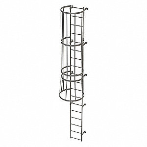 Tri Arc 17 Ft Steel Fixed Ladder With Safety Cage Top