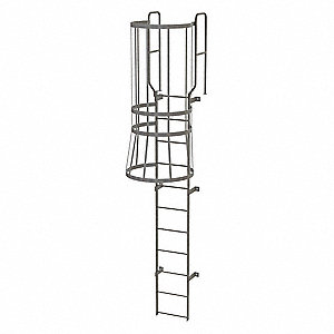 Tri Arc 14 Ft Steel Fixed Ladder With Safety Cage Top