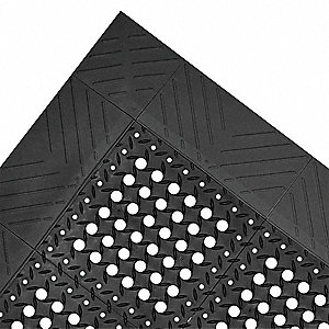 "Drainage Mat, 8 ft. L, 3 ft. 6"" W, 7/8"" Thick, Rectangle, Black"