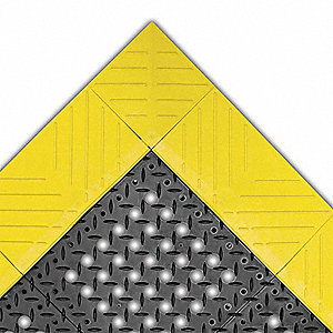 "Drainage Mat, 4 ft. L, 30"" W, 7/8"" Thick, Rectangle, Black with Yellow Border"
