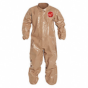 Collared Disposable Coveralls with Elastic Cuff, Tychem® 5000 Material, Tan, 4XL
