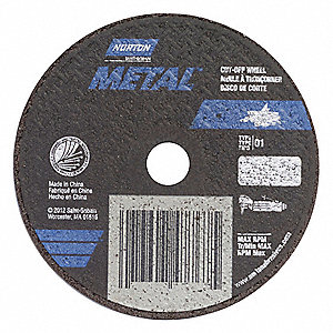 "4"" Type 1 Aluminum Oxide Abrasive Cut-Off Wheel, 3/8"" Arbor, 0.035""-Thick, 19,100 Max. RPM"