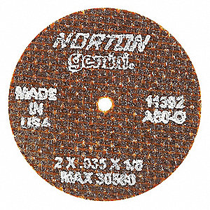 "2"" Type 1 Aluminum Oxide Abrasive Cut-Off Wheel, 1/8"" Arbor, 0.035""-Thick, 30,560 Max. RPM"