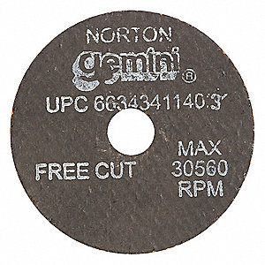 "2"" Type 1 Aluminum Oxide Abrasive Cut-Off Wheel, 3/8"" Arbor, 0.125""-Thick, 30,560 Max. RPM"