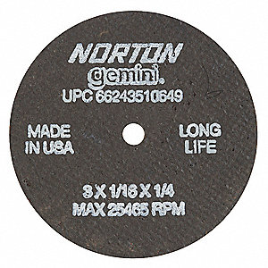 "3"" Type 1 Aluminum Oxide Abrasive Cut-Off Wheel, 1/4"" Arbor, 1/16""-Thick, 25,465 Max. RPM"