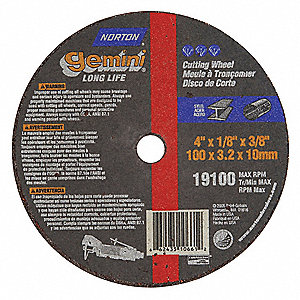 "4"" Type 1 Aluminum Oxide Abrasive Cut-Off Wheel, 3/8"" Arbor, 0.125""-Thick, 19,100 Max. RPM"