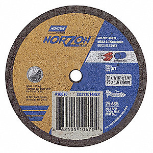 "3"" Type 1 Ceramic Abrasive Cut-Off Wheel, 1/4"" Arbor, 0.0625""-Thick, 25,465 Max. RPM"