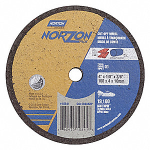 "4"" Type 1 Ceramic Abrasive Cut-Off Wheel, 3/8"" Arbor, 1/8""-Thick, 19,100 Max. RPM"