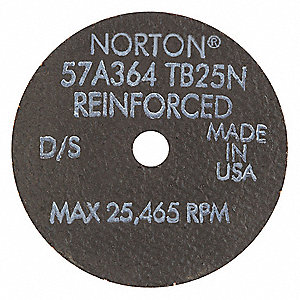 "3"",  Type 1 Aluminum Oxide Abrasive Cut-Off Wheel,  3/8"" Arbor Hole Size,  0.0625"" Thickness"