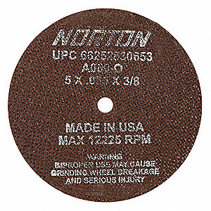 "5"" Type 1 Aluminum Oxide Abrasive Cut-Off Wheel, 3/8"" Arbor, 0.035""-Thick, 12,225 Max. RPM"