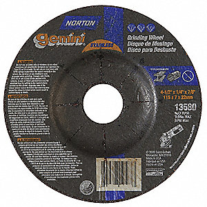 "4-1/2"" Type 27 Aluminum Oxide Depressed Center Wheels, 7/8"" Arbor, 1/4""-Thick, 13,580 Max. RPM"