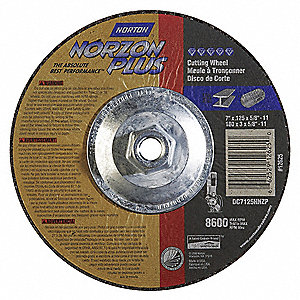 "7"" Type 27 Ceramic Depressed Center Wheels, 5/8""-11 Arbor, 1/8""-Thick, 8600 Max. RPM"