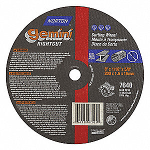 "8"" Type 1 Aluminum Oxide Abrasive Cut-Off Wheel, 5/8"" Arbor, 0.0625""-Thick, 7640 Max. RPM"
