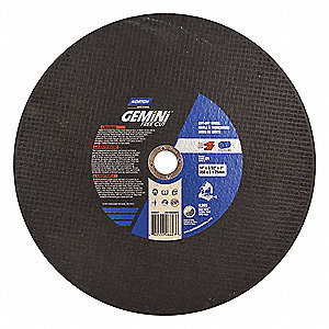 "14"" Type 1 Silicon Carbide Abrasive Cut-Off Wheel, 1"" Arbor, 0.0937""-Thick, 4365 Max. RPM"