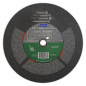 "14"" Type 1 Silicon Carbide Abrasive Cut-Off Wheel, 1"" Arbor, 1/4""-Thick, 4370 Max. RPM"