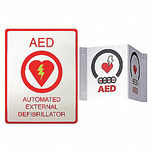 AED PLUS WALL SIGN (81/2 X 11)