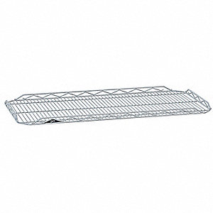 "36""W x 14""D Wire Shelf, Chromate Finish, 250 lb. Shelf Capacity, Silver"