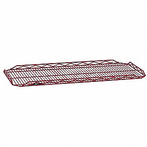"48""W x 18""D Wire Shelf, Epoxy Finish, 250 lb. Shelf Capacity, Flame Red"