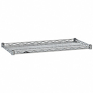 "48""W x 24""D Wire Shelf, Chrome Plated Finish, 250 lb. Shelf Capacity, Silver"