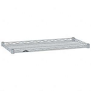"48""W x 14""D Wire Shelf, Chromate Finish, 250 lb. Shelf Capacity, Silver"