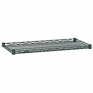 "36""W x 18""D Wire Shelf, Epoxy Finish, 250 lb. Shelf Capacity, Hunter Green"