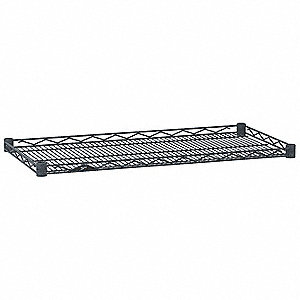 "36""W x 18""D Wire Shelf, Epoxy Finish, 250 lb. Shelf Capacity, Silver Hammertone"