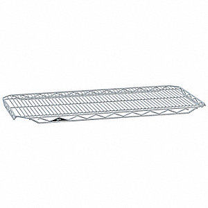 "48""W x 24""D Wire Shelf, Chromate Finish, 250 lb. Shelf Capacity, Silver"