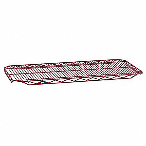 "48""W x 21""D Wire Shelf, Epoxy Finish, 250 lb. Shelf Capacity, Flame Red"