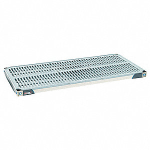 Antimicrobial Polymer/Type 304 Stainless Steel Shelf, Taupe/Blue, 1 EA
