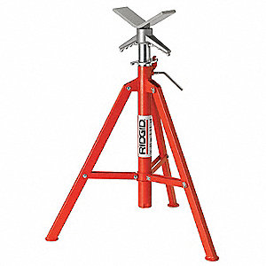 "V-Head Pipe Stand, 12"" Pipe Capacity, 28"" to 52"" Overall Height, 2500 lb. Load Capacity"
