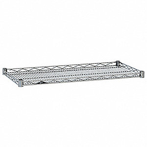 "48""W x 14""D Wire Shelf, Chrome Plated Finish, 250 lb. Shelf Capacity, Silver"