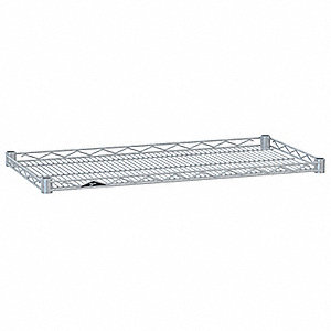 "36""W x 18""D Wire Shelf, Chromate Finish, 250 lb. Shelf Capacity, Silver"