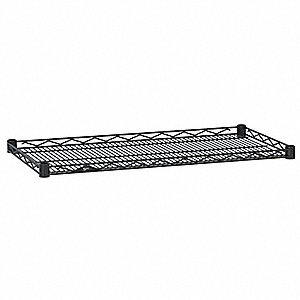 "48""W x 24""D Wire Shelf, Epoxy Finish, 250 lb. Shelf Capacity, Black"