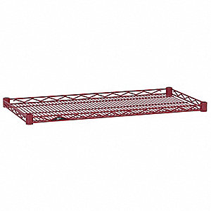 "36""W x 18""D Wire Shelf, Epoxy Finish, 250 lb. Shelf Capacity, Flame Red"
