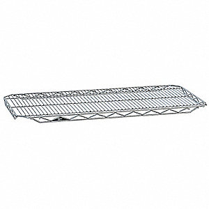 "48""W x 21""D Wire Shelf, Chrome Plated Finish, 300 lb. Shelf Capacity, Silver"