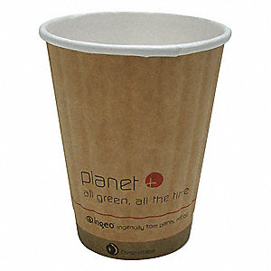 8 oz. Disposable Hot Cup, Double Wall lined with Ingeo PLA, Brown, PK 1000