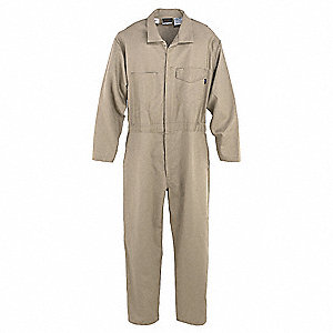 Flame-Resistant Coverall,Khaki,60 Long