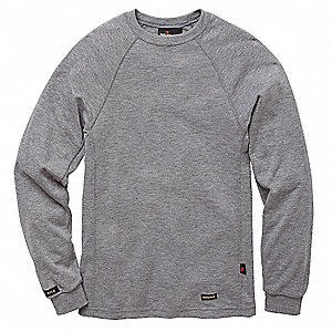 "Heather Gray Flame-Resistant Crewneck Shirt, Size: 3XL, Fits Chest Size: 54"", 8.2 cal./cm2 ATPV Rati"